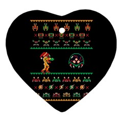 We Wish You A Metroid Christmas Ugly Holiday Christmas Black Background Heart Ornament (2 Sides) by Onesevenart