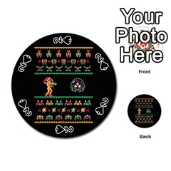 We Wish You A Metroid Christmas Ugly Holiday Christmas Black Background Playing Cards 54 (round)  by Onesevenart