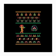 We Wish You A Metroid Christmas Ugly Holiday Christmas Black Background Medium Glasses Cloth (2 Side) by Onesevenart
