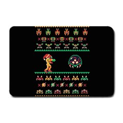 We Wish You A Metroid Christmas Ugly Holiday Christmas Black Background Small Doormat  by Onesevenart