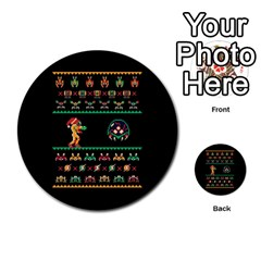 We Wish You A Metroid Christmas Ugly Holiday Christmas Black Background Multi Purpose Cards (round)  by Onesevenart