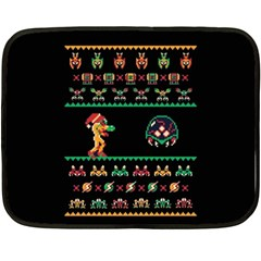 We Wish You A Metroid Christmas Ugly Holiday Christmas Black Background Double Sided Fleece Blanket (mini)  by Onesevenart