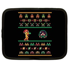 We Wish You A Metroid Christmas Ugly Holiday Christmas Black Background Netbook Case (xxl)  by Onesevenart