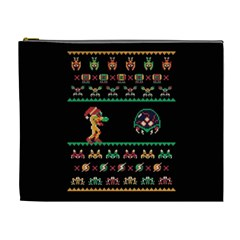 We Wish You A Metroid Christmas Ugly Holiday Christmas Black Background Cosmetic Bag (xl) by Onesevenart