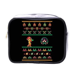 We Wish You A Metroid Christmas Ugly Holiday Christmas Black Background Mini Toiletries Bags by Onesevenart