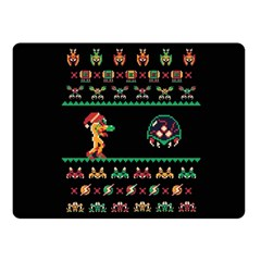 We Wish You A Metroid Christmas Ugly Holiday Christmas Black Background Fleece Blanket (small) by Onesevenart