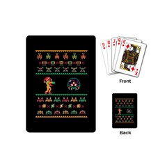 We Wish You A Metroid Christmas Ugly Holiday Christmas Black Background Playing Cards (mini)  by Onesevenart