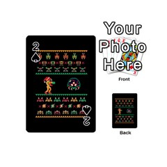 We Wish You A Metroid Christmas Ugly Holiday Christmas Black Background Playing Cards 54 (mini)  by Onesevenart