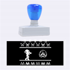 We Wish You A Metroid Christmas Ugly Holiday Christmas Black Background Rubber Stamps (large) by Onesevenart