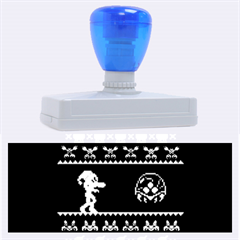 We Wish You A Metroid Christmas Ugly Holiday Christmas Black Background Rubber Address Stamps (xl) by Onesevenart