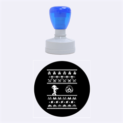 We Wish You A Metroid Christmas Ugly Holiday Christmas Black Background Rubber Round Stamps (medium) by Onesevenart