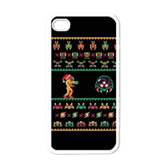 We Wish You A Metroid Christmas Ugly Holiday Christmas Black Background Apple Iphone 4 Case (white) by Onesevenart