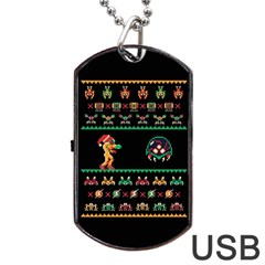 We Wish You A Metroid Christmas Ugly Holiday Christmas Black Background Dog Tag Usb Flash (two Sides)  by Onesevenart