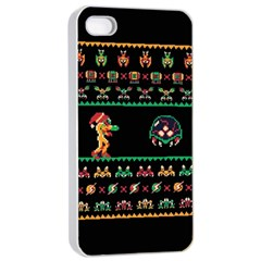 We Wish You A Metroid Christmas Ugly Holiday Christmas Black Background Apple Iphone 4/4s Seamless Case (white) by Onesevenart