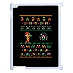 We Wish You A Metroid Christmas Ugly Holiday Christmas Black Background Apple Ipad 2 Case (white) by Onesevenart