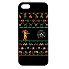 We Wish You A Metroid Christmas Ugly Holiday Christmas Black Background Apple Iphone 5 Seamless Case (black) by Onesevenart
