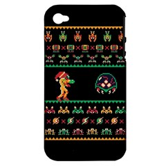 We Wish You A Metroid Christmas Ugly Holiday Christmas Black Background Apple Iphone 4/4s Hardshell Case (pc+silicone) by Onesevenart