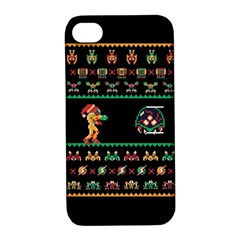We Wish You A Metroid Christmas Ugly Holiday Christmas Black Background Apple Iphone 4/4s Hardshell Case With Stand by Onesevenart