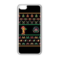 We Wish You A Metroid Christmas Ugly Holiday Christmas Black Background Apple Iphone 5c Seamless Case (white) by Onesevenart