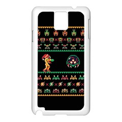 We Wish You A Metroid Christmas Ugly Holiday Christmas Black Background Samsung Galaxy Note 3 N9005 Case (white) by Onesevenart