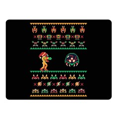 We Wish You A Metroid Christmas Ugly Holiday Christmas Black Background Double Sided Fleece Blanket (small)  by Onesevenart