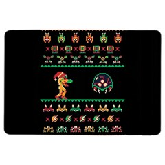 We Wish You A Metroid Christmas Ugly Holiday Christmas Black Background Ipad Air 2 Flip by Onesevenart