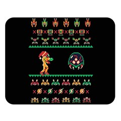 We Wish You A Metroid Christmas Ugly Holiday Christmas Black Background Double Sided Flano Blanket (large)  by Onesevenart