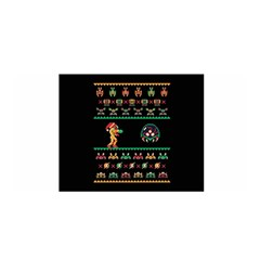We Wish You A Metroid Christmas Ugly Holiday Christmas Black Background Satin Wrap by Onesevenart