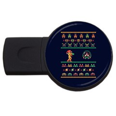 We Wish You A Metroid Christmas Ugly Holiday Christmas Blue Background Usb Flash Drive Round (4 Gb)