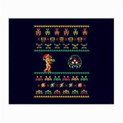 We Wish You A Metroid Christmas Ugly Holiday Christmas Blue Background Small Glasses Cloth (2 Side) by Onesevenart