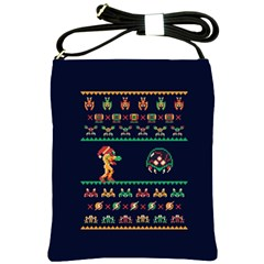 We Wish You A Metroid Christmas Ugly Holiday Christmas Blue Background Shoulder Sling Bags by Onesevenart