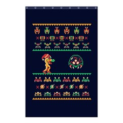 We Wish You A Metroid Christmas Ugly Holiday Christmas Blue Background Shower Curtain 48  X 72  (small)  by Onesevenart