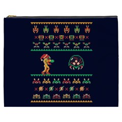 We Wish You A Metroid Christmas Ugly Holiday Christmas Blue Background Cosmetic Bag (xxxl)  by Onesevenart