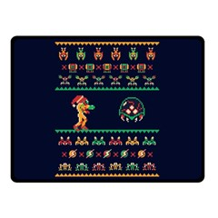 We Wish You A Metroid Christmas Ugly Holiday Christmas Blue Background Double Sided Fleece Blanket (small)  by Onesevenart