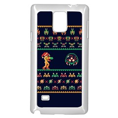 We Wish You A Metroid Christmas Ugly Holiday Christmas Blue Background Samsung Galaxy Note 4 Case (white) by Onesevenart