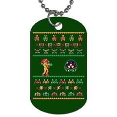 We Wish You A Metroid Christmas Ugly Holiday Christmas Green Background Dog Tag (two Sides) by Onesevenart