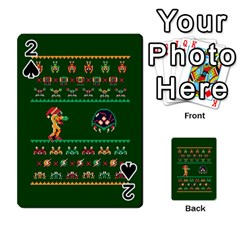 We Wish You A Metroid Christmas Ugly Holiday Christmas Green Background Playing Cards 54 Designs  by Onesevenart