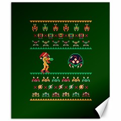 We Wish You A Metroid Christmas Ugly Holiday Christmas Green Background Canvas 20  X 24   by Onesevenart