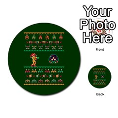 We Wish You A Metroid Christmas Ugly Holiday Christmas Green Background Multi Purpose Cards (round)  by Onesevenart