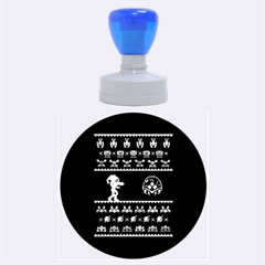 We Wish You A Metroid Christmas Ugly Holiday Christmas Green Background Rubber Round Stamps (large)