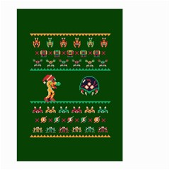 We Wish You A Metroid Christmas Ugly Holiday Christmas Green Background Small Garden Flag (two Sides) by Onesevenart