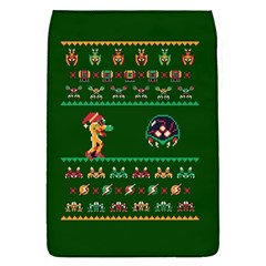 We Wish You A Metroid Christmas Ugly Holiday Christmas Green Background Flap Covers (s)  by Onesevenart