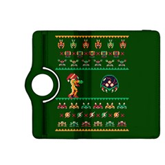 We Wish You A Metroid Christmas Ugly Holiday Christmas Green Background Kindle Fire Hdx 8 9  Flip 360 Case by Onesevenart