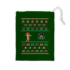 We Wish You A Metroid Christmas Ugly Holiday Christmas Green Background Drawstring Pouches (large)  by Onesevenart