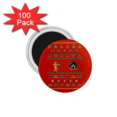 We Wish You A Metroid Christmas Ugly Holiday Christmas Red Background 1 75  Magnets (100 Pack)  by Onesevenart