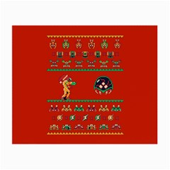 We Wish You A Metroid Christmas Ugly Holiday Christmas Red Background Small Glasses Cloth (2 Side) by Onesevenart