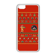 We Wish You A Metroid Christmas Ugly Holiday Christmas Red Background Apple Iphone 5c Seamless Case (white) by Onesevenart