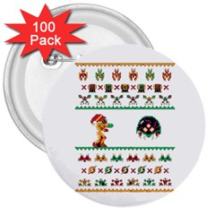 We Wish You A Metroid Christmas Ugly Holiday Christmas 3  Buttons (100 Pack)  by Onesevenart