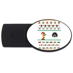We Wish You A Metroid Christmas Ugly Holiday Christmas Usb Flash Drive Oval (4 Gb)  by Onesevenart