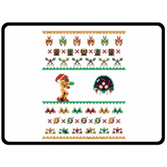 We Wish You A Metroid Christmas Ugly Holiday Christmas Double Sided Fleece Blanket (large)  by Onesevenart